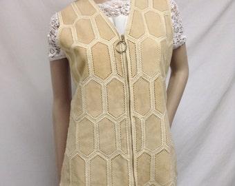 Di Costa, tan suede Leather Vest, Medium,size 10,10