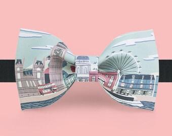 London landscape London Eye and Big Ben Bowtie Tie