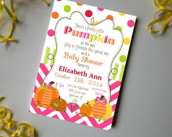 Pretty Little Pumpkin Baby Shower Invite-DIY Printable Invitation-Baby Shower-Invite-Instant Download-Editable File