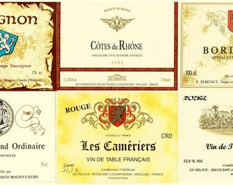 French Wine Labels - 6 Vintage Unused Colored Labels - Kitchen Decor - Art Paper Craft Supplies - Collage - Scrap Book Sheets