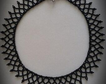 Black Bead Weaved Collar Necklace