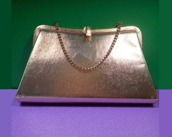 Admiral Gold Lamé Chain Strap Evening Bag