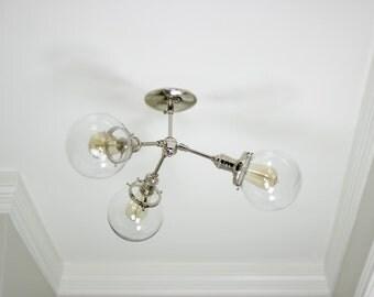Free Shipping! Modern Chandelier Chrome Polished Nickel 3 Globe Sputnik Mid Century Semi Flush Edison Industrial Hanging Light Lighting