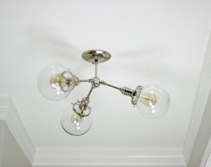 Free Shipping! Modern Chandelier Chrome Polished Nickel 3 Globe Sputnik Mid Century Semi Flush Edison Industrial Hanging Light Lighting