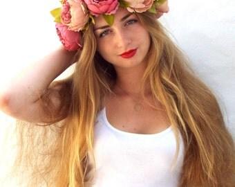 Big flower crown, Pink  bridal headpiece,  Peonies hair wreath,Festival hairpiece, Wedding hair accessories,  Floral headband