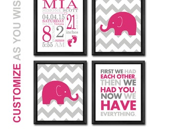 baby girl decor, birth announcement wall art, personalized baby print, baby gift, elephant baby girl nursery, baby announcement, birth stats
