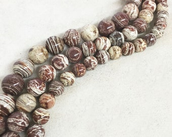Brown Flower Agate Beads
