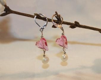 Pearl and Swarovski Heart Earrings