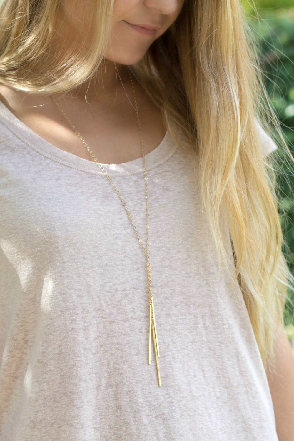 bar necklace, lariat necklace, long necklace, layering necklace, gold brass necklace, boho, y necklace, modern necklace, triple bar necklace
