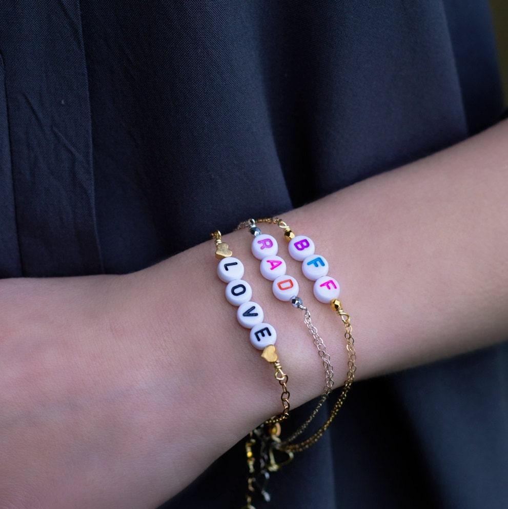Love Bracelet, BFF Bracelet, Personalized Bracelet, Initial Bracelet, Bridesmaids Gift, Custom Word Bracelet