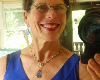 LABRADORITE QUEEN'S NECKLACE exquisitely stunning piece,lg. blue/grn. pendant on vermeil bezeled oval labordite chain,cz /vermeil bail&clasp