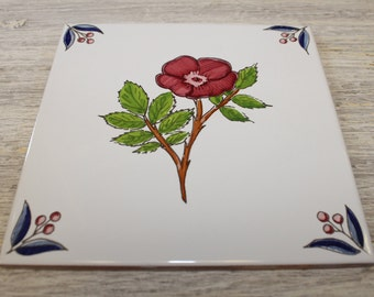 Red Flower Terracotta Ceramic Tile Backsplash Decorative Ceramic Tiles Made In Spain
