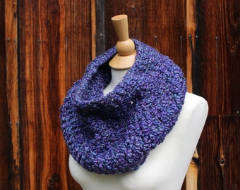Crocheted Cowl Scarf in Purple