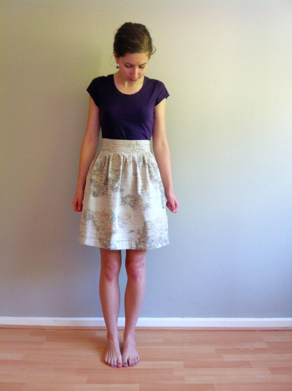 World map skirt vintage map print fabric pleated skirt knee