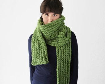 Long Winter Scarf -  Chunky Crochet Scarf - Winter Accessory in Avocado | The Io Scarf |