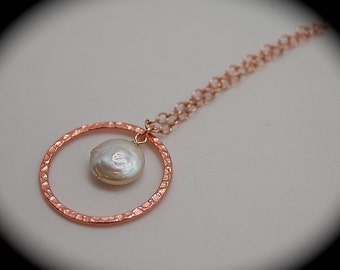 Hammered Copper and Pearl Rose Gold Necklace