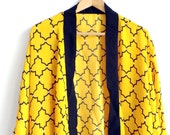 Tuscany Sunshine - Yellow / Black Kimono Jacket - Beach / Summer Kimono Cover-up Cardigan