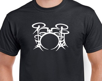 Drum Kit T-shirt. Great gift for the drummer in your life. Shirt is Black with White direct screen printed design.