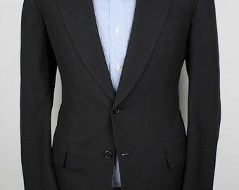 Black Weave Mens Jacket - Hickey Freeman Vintage Silk 39 R Sport Coat Blazer