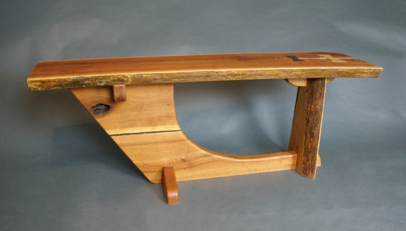 Rustic Cherry Bench with Maple and Walnut dovetails