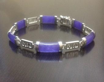 Jade Bracelet - Purple Jade Bracelet - Silver Jade Bracelet - Jade Link Bracelet - Handmade Bracelet - Jade Jewelry - Silver Bracelet - Jade