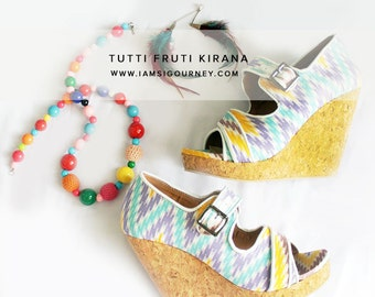 Multicolor Open Toe Slip On Batik Wedges