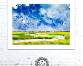 Coastal Landscape Painting, Coastal Art, Blue Sky, Watercolor Painting, Coastal Decor, Coastal Paintings, Beach House Decor, Coastal Artwork