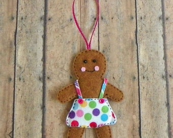 Whimsical Felt Gingerbread Girl Christmas Tree Ornament