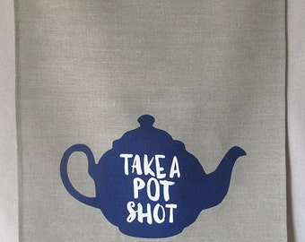 pot shot linen tea towel