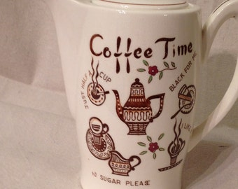 Mid century Coffee Time ceramic coffee pot
