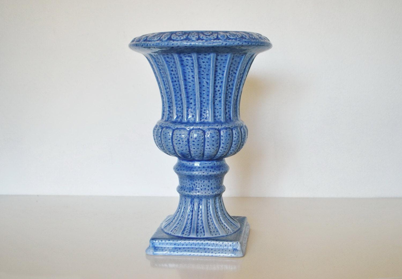 Large Blue Pedestal Urn Vase Planter Fluted Footed Vintage