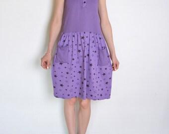 90's stars and stripes dress, purple and black dress, sleeveless pocket summer dress, beach summer dress