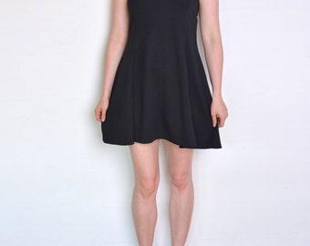 90's skater dresss, sleeveless black dress, mini dress, minimalist dress, grunge dress, a line flared classic summer dress