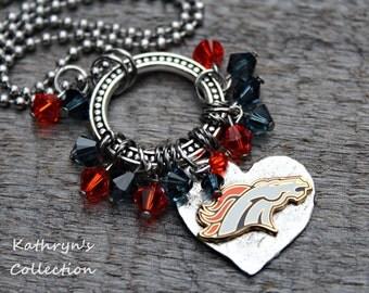 Denver Broncos Necklace, Broncos Jewelry
