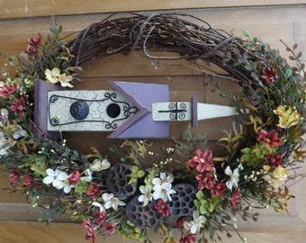 Autumn Wreath with Cream and Burgundy Birdhouse