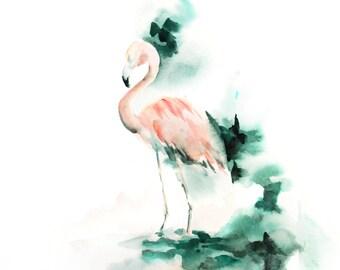 Flamingo Original Watercolor Painting, Modern Bird Painting Art