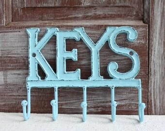Wall Key Holder, Metal Key Hanger, Decorative Key Rack, Cast Iron Key Hook, Blue Wall Decor Entryway Key Organizer. Housewarming Gift