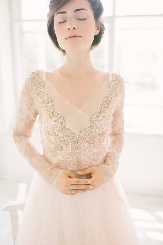 Tulle wedding gown // Orchidee /Blush wedding dress lace