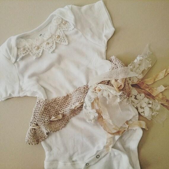 Items similar to Parisian Baby esie Boho Baby Clothes
