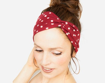 Red Polka Dot Headband - Red Headband Red Turban Yoga Headband Workout Fitness Running Pinup Retro Vintage Rosie the Riveter Etsy Finds