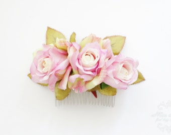 Bridal Hair Accessory, pink purple rose autumn fall, Bridal Hair comb hairpiece flower Bridesmaid Rustic Vintage outdoor wedding woodland