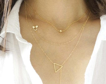 Simple Delicate Layered Necklaces with Mickey Mouse / Necklace Layered Set of 3 Necklaces