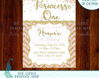 Pink and Gold glitter and sparkle Birthday invitation. Stripes, polka dots or chevron