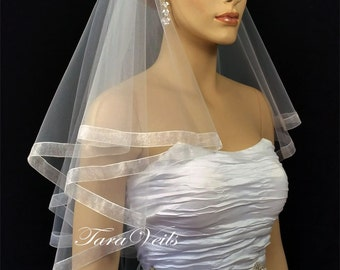 "2 tier  25""x30""x72"" Organza Edge | White| Ivory | Bridal Veil | Wedding Veil | Veils | 2 layer"