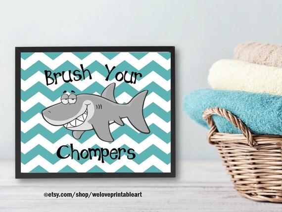 Teal Chevron Kids Bathroom Decor Shark Decor Ocean Theme