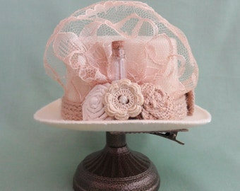 "5"" Mini Steampunk Hat, Top Hat Fascinator, Hairpiece, # 885"