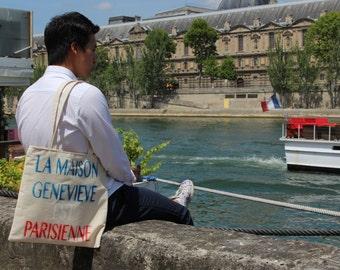 """Tote bag """"GENEVIÈVE home is Paris"""""""