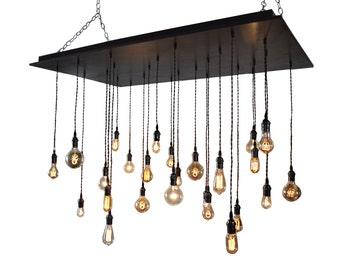 Oversized Rustic Chandelier - Wedding Lighting, Event Lighting, Industrial Chandelier With Bare Bulb Pendants