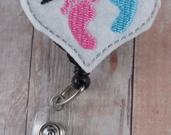 L&D (labor and delivery) badge reel -- heart with pink and blue feet -- great thank you gift