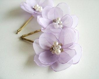 Lilac Wedding Hair Flowers, Bridal  Hair Clips, Lavender Wedding Hair Accessory, Bridesmaid  Flower Girl Hair Flower Pins